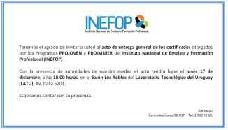 inefop entrega certificados