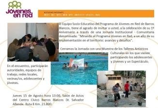 Invitación - 1º Aniversario de Jóvenes en Red en Barros