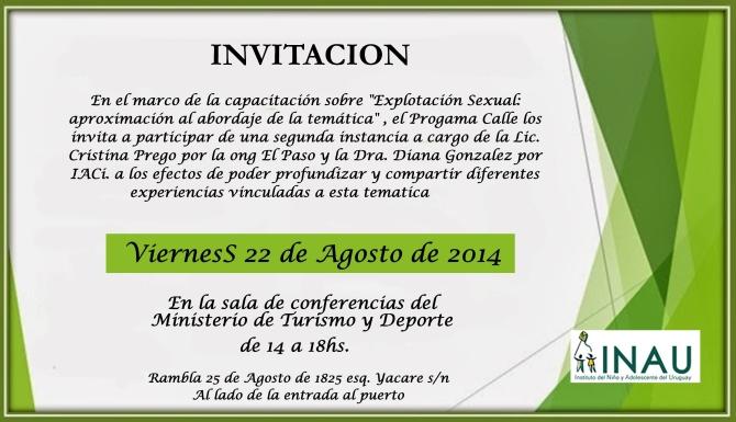 Invitacion Capacitacion Explotacion Sexual 22 Agosto 2014