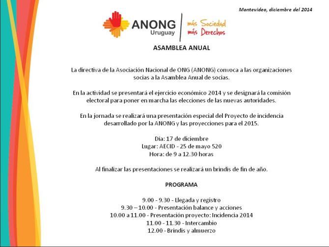 Invitación Asamblea Anual 2014
