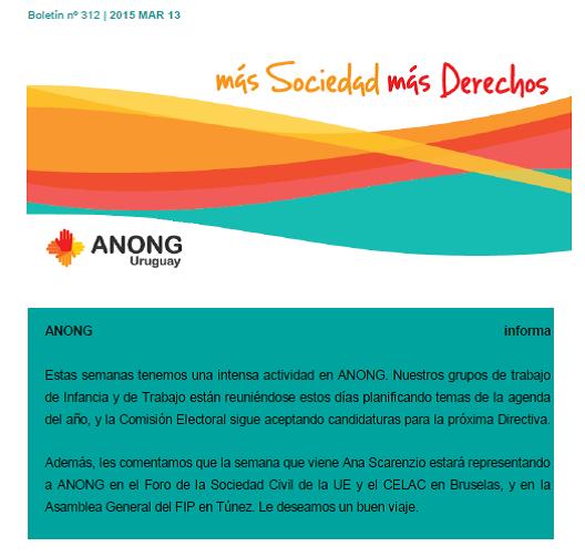 ANONG Boletín nº 312 13 marzo 2015