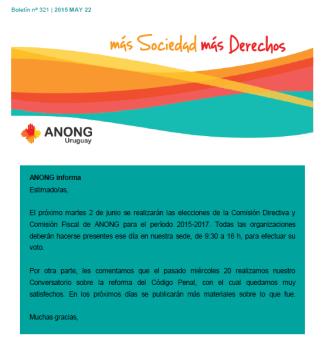 ANONG Boletín nº 321 -2015 MAY 22