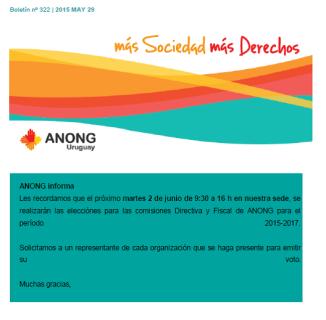 ANONG Boletín nº 322 -2015 MAY 29