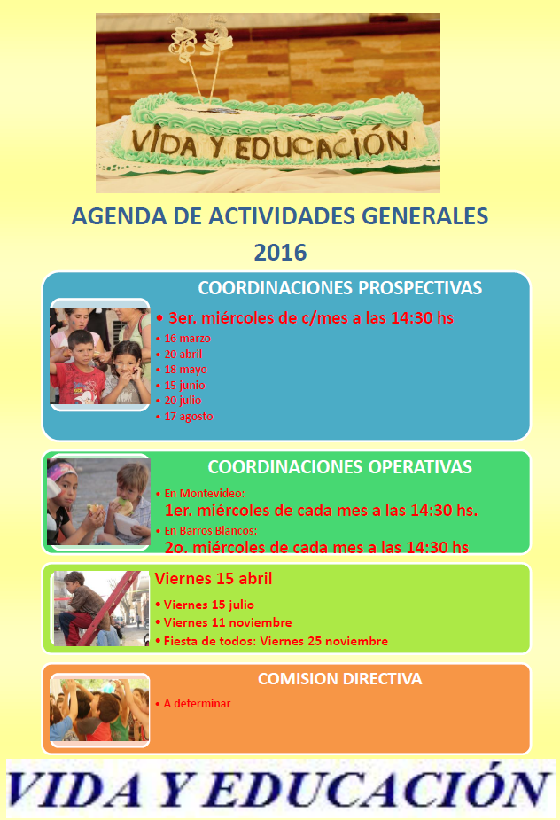 2016 Agenda actividades 2016 VYE