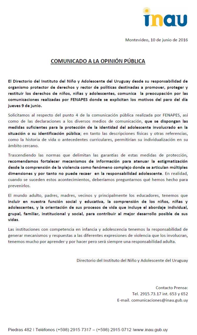 COMUNICADO A LA OPINION PUBLICA INAU 9-6-2016