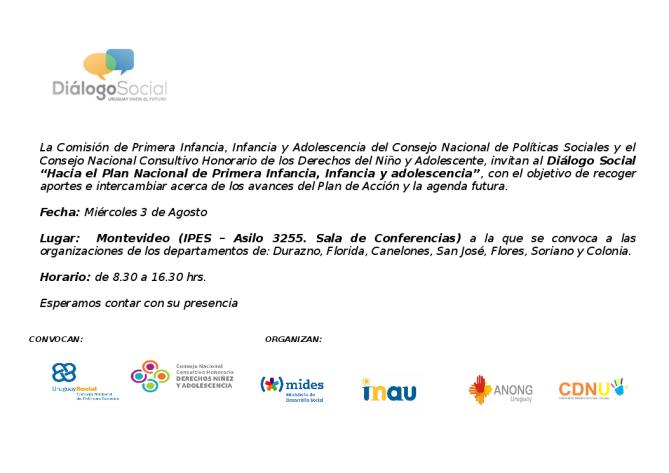 Invitacion Dialogo de Primera Infancia, Infancia y Adolescencia en Montevideo